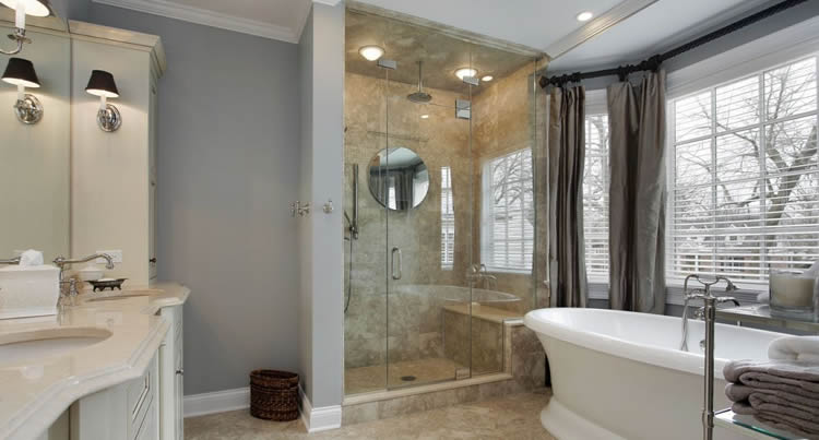 Frameless glass shower door in Roswell, Georgia bathroom