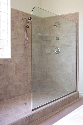 Frameless Glass Splash Panels For Shower Or Tub Enclosures