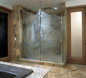 Roswell frameless shower doors with textured glass