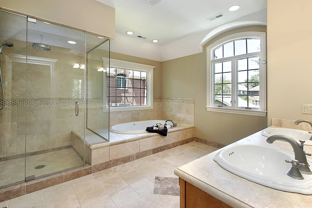 Atlanta frameless glass shower doors superior shower for Large bathroom pictures