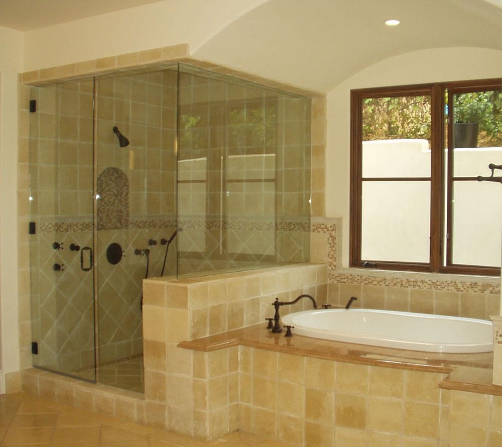 Glass enclosure shower tub enclosures heard beautiful for Bathroom ideas no tub