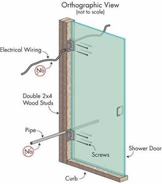 Shower enclosure and electrical wiring in Atlanta bathroom