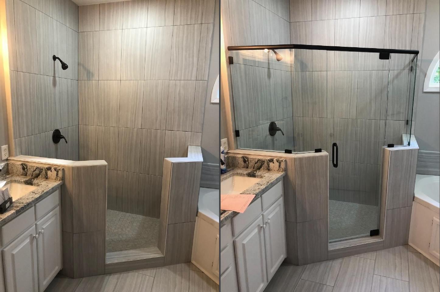 001 - Adairsville GA Semi-Frameless Shower Door Install