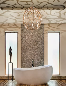 Atlanta bathroom with hanging chandelier