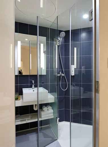 Atlanta apartment with frameless glass shower door and enclosure